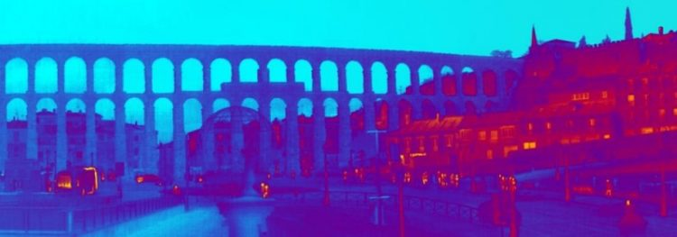 Aqueduct of Segovia in thermal vision