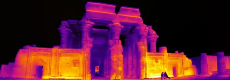 Kom Ombo Temple in thermal vision